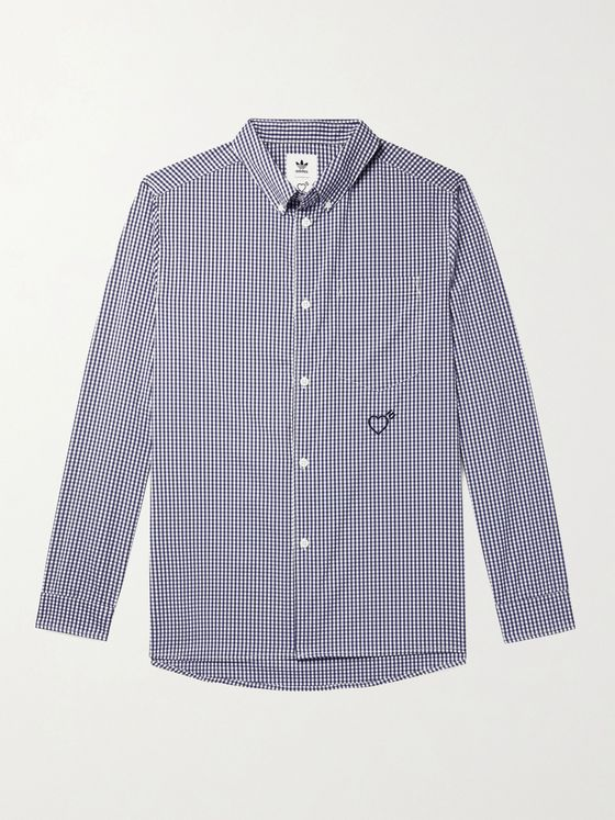 adidas Consortium + Human Made Button-Down Collar Logo-Embroidered Gingham Woven Shirt