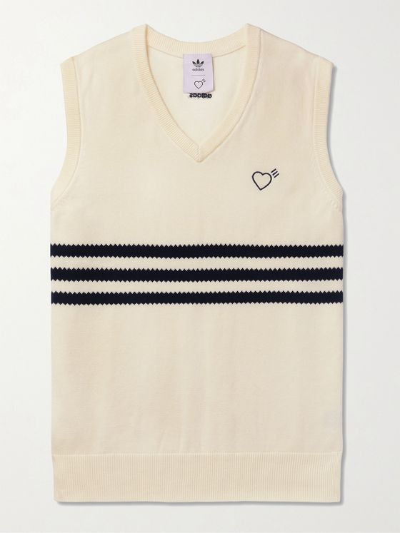 ADIDAS CONSORTIUM + Human Made Logo-Embroidered Striped Cotton Sweater Vest