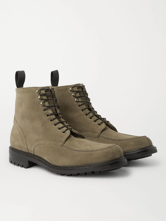 MR P. Heath Shearling-Lined Goodyear-Welted Split-Toe Suede Boots