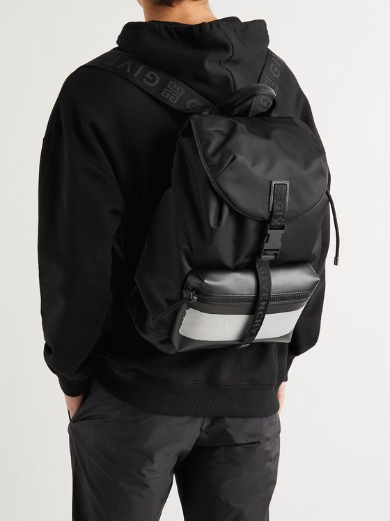 GIVENCHY Logo Webbing-Trimmed Leather and Shell Backpack