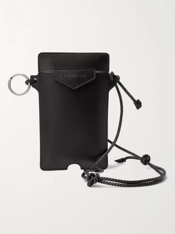 GIVENCHY Logo-Debossed Leather Phone Pouch Lanyard