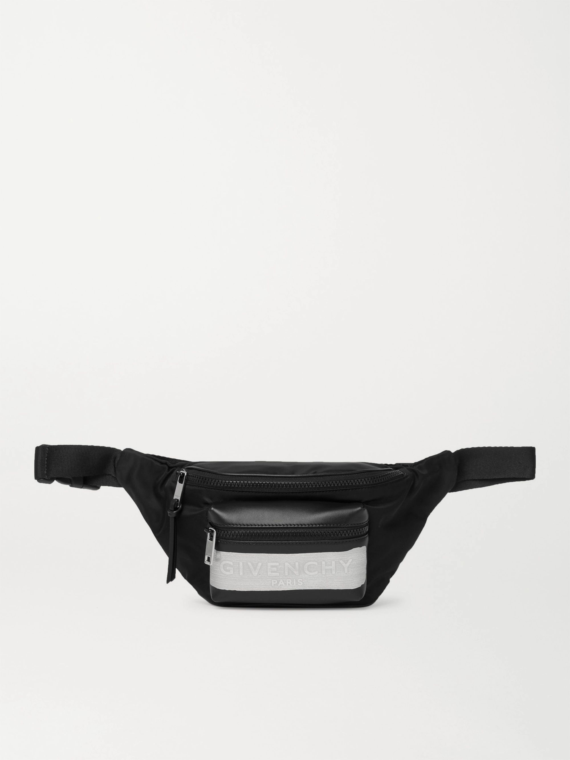 지방시 Givenchy Logo-Detailed Leather and Shell Belt Bag,Black