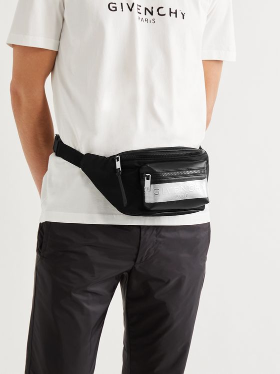 GIVENCHY Logo-Detailed Leather and Shell Belt Bag