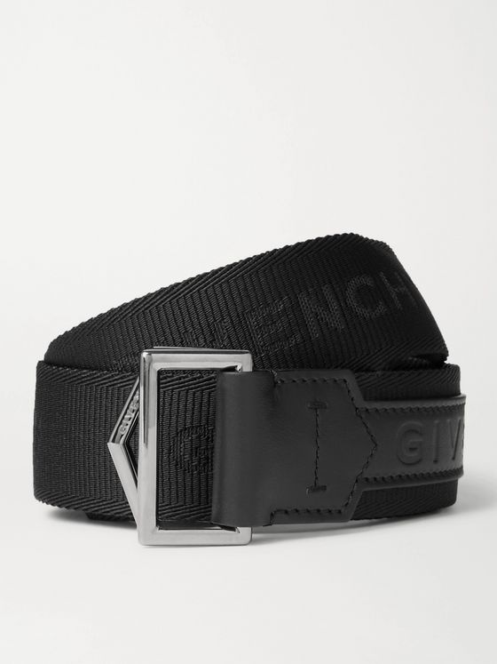 GIVENCHY 3.5cm Logo-Detailed Leather-Trimmed Webbing Belt