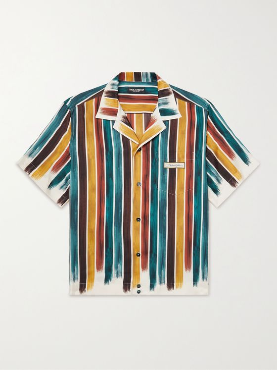 DOLCE & GABBANA Camp Collar Striped Silk Shirt