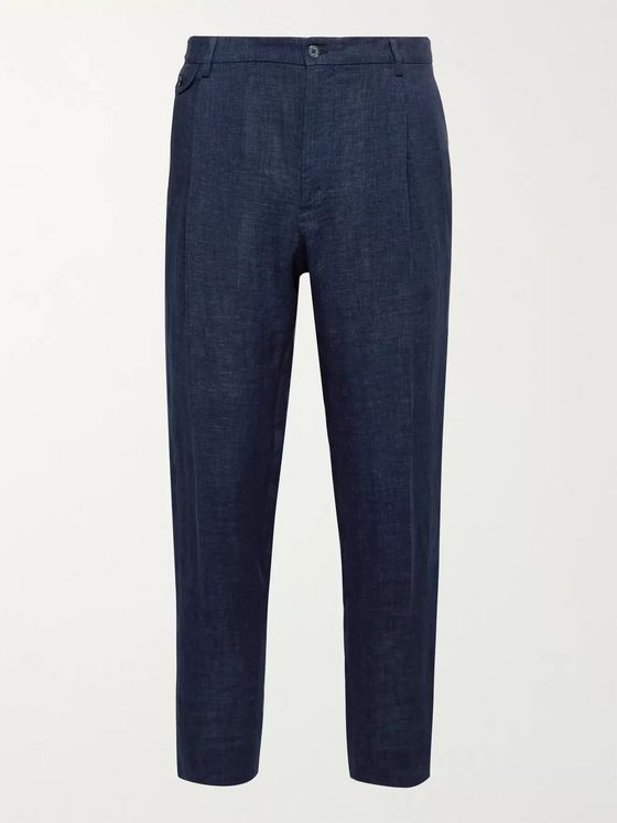 DOLCE & GABBANA Tapered Pleated Linen Trousers