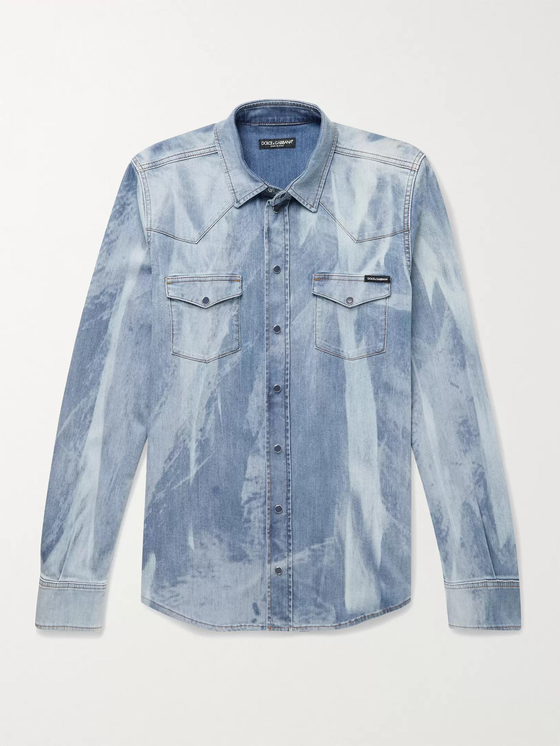 Dolce & Gabbana SLIM-FIT BLEACHED STRETCH-DENIM WESTERN SHIRT