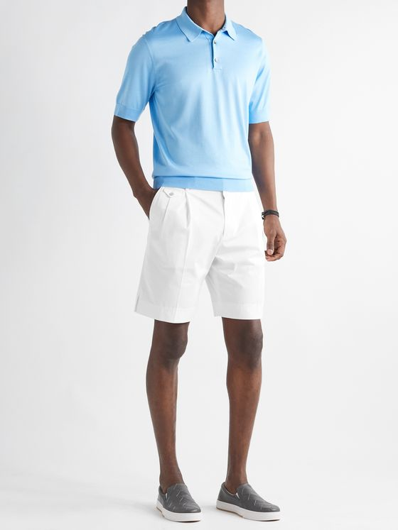 DOLCE & GABBANA Pleated Stretch-Cotton Gabardine Bermuda Shorts