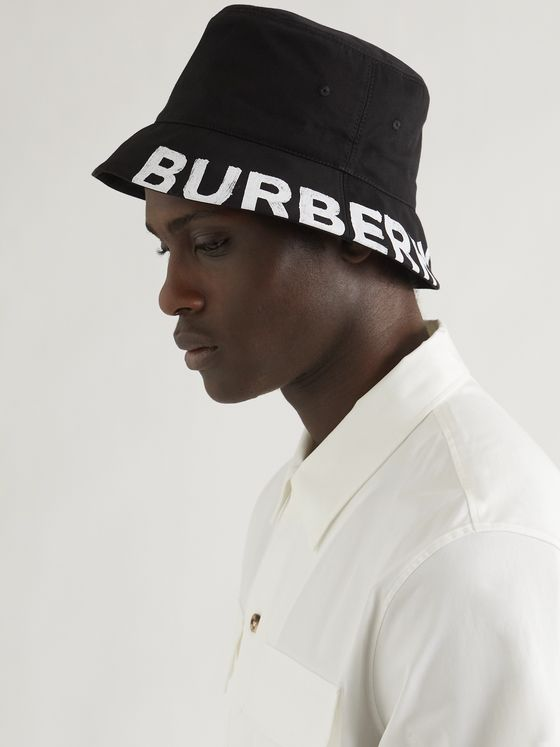 BURBERRY Reversible Logo-Print Cotton-Gabardine Bucket Hat