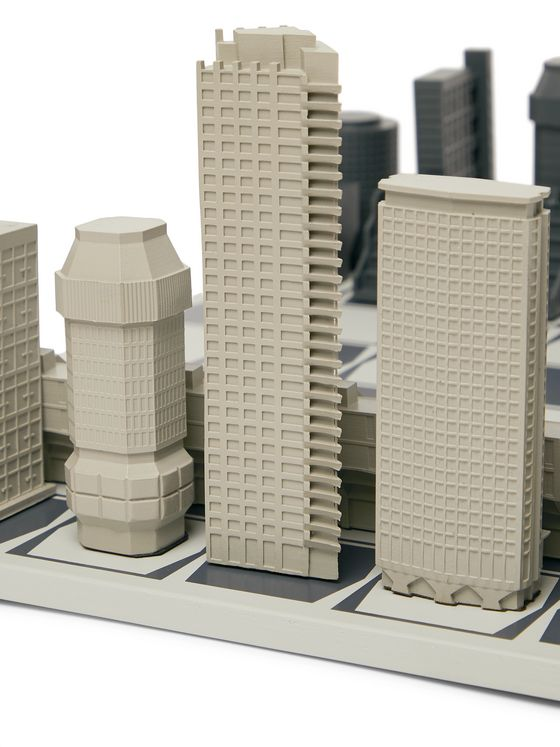 Skyline Chess London Brutalist Edition Resin and Wood Chess Set