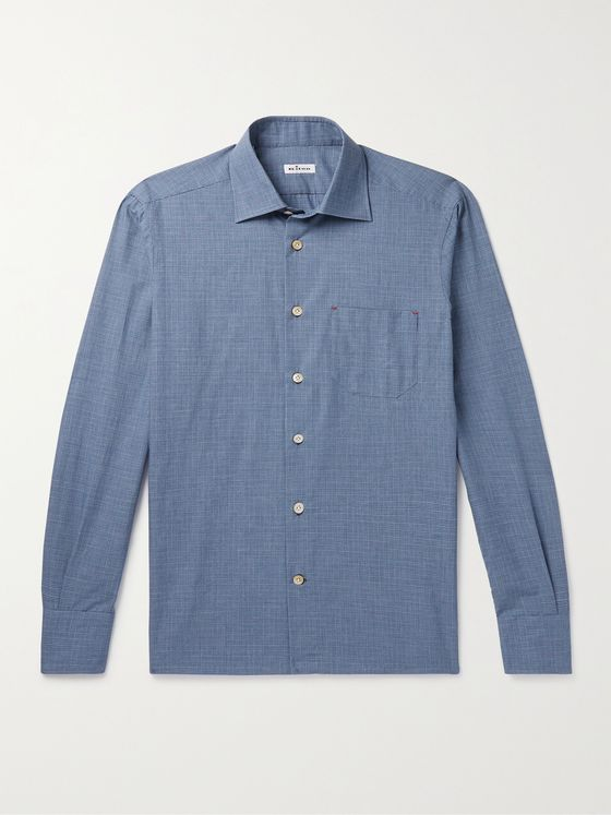 KITON Prince of Wales Checked Cotton and Cashmere-Blend Shirt