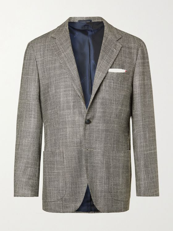 KITON Unstructured Micro-Checked Cashmere and Silk-Blend Suit Jacket