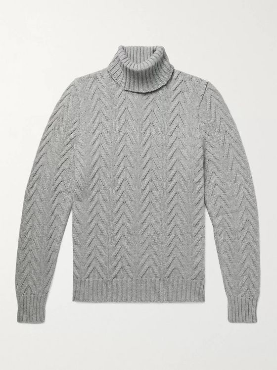 Kiton Slim-Fit Cable-Knit Cashmere Rollneck Sweater