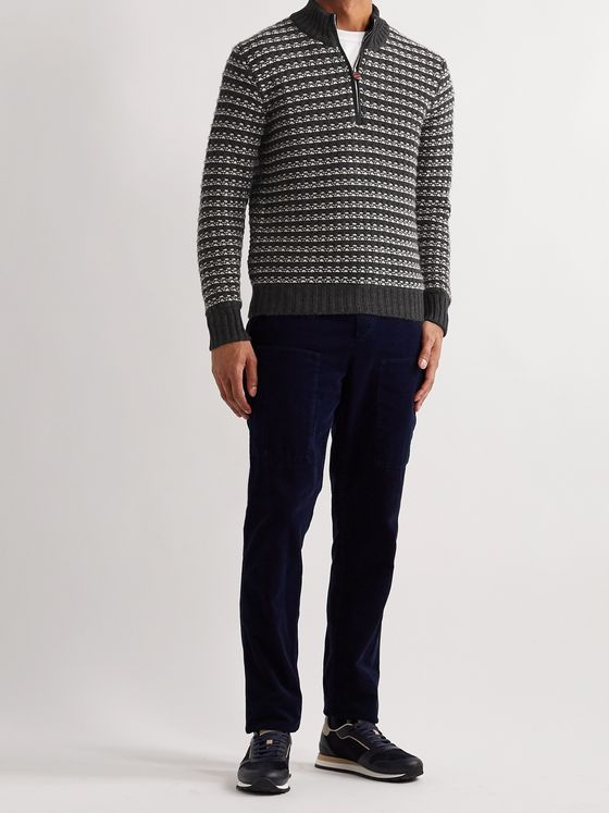 Kiton Slim-Fit Cashmere Half-Zip Sweater