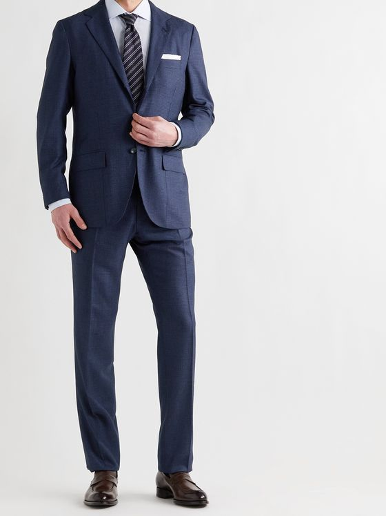 KITON Micro-Checked Cashmere Suit Trousers