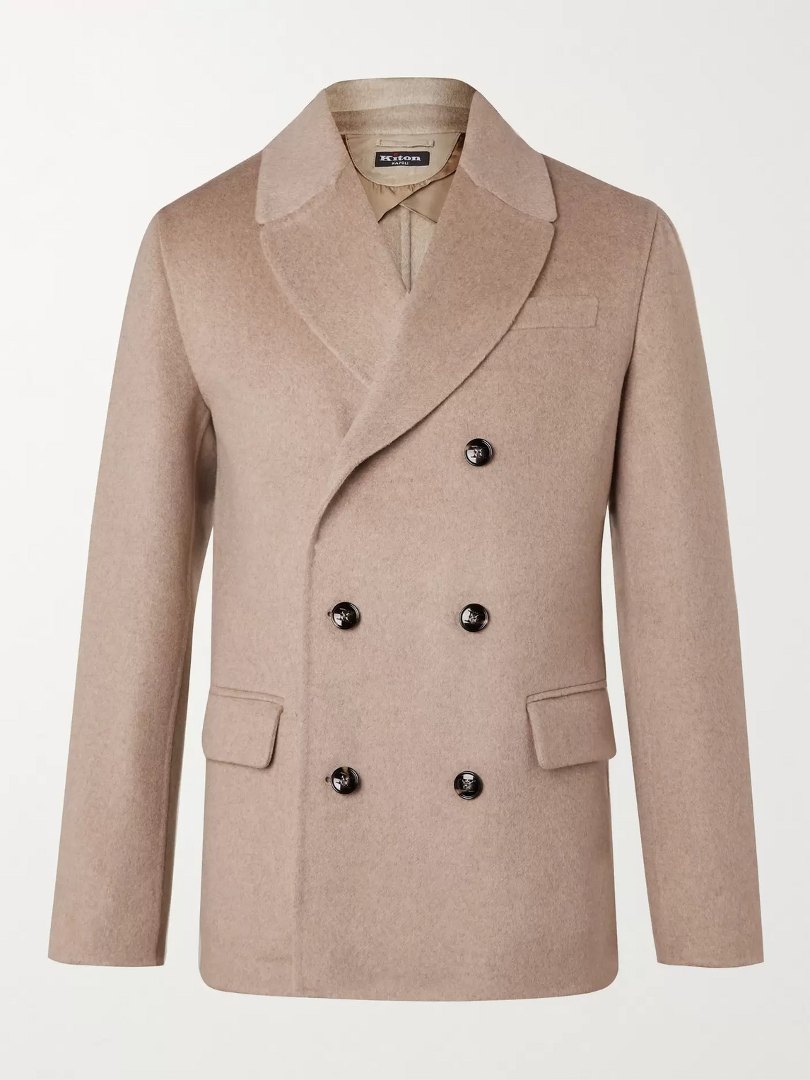 Kiton Double-breasted Cashmere Peacoat In Neutrals
