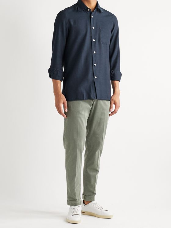 Kiton Cotton and Cashmere-Blend Twill Shirt