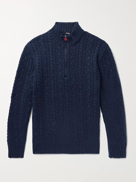 Kiton Cable-Knit Cashmere Half-Zip Sweater
