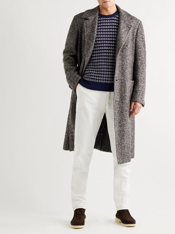KITON Herringbone Virgin Wool, Cashmere and Silk-Blend Tweed Overcoat
