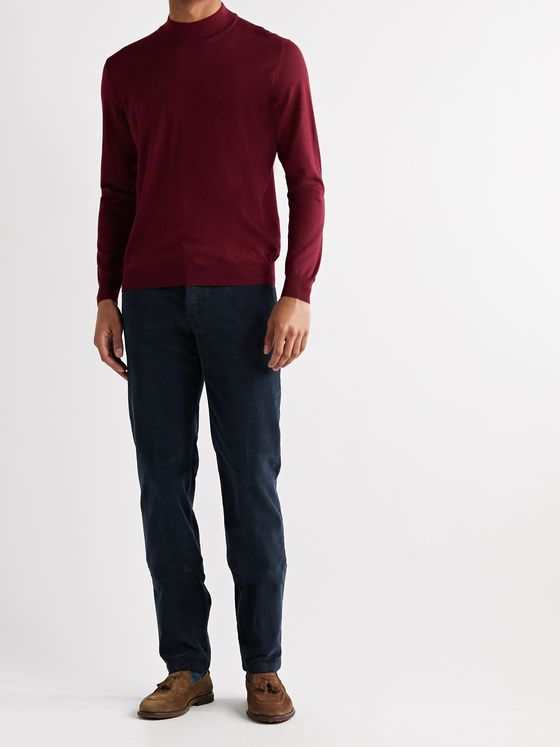Kiton Slim-Fit Stretch Cotton and Wool-Blend Corduroy Trousers