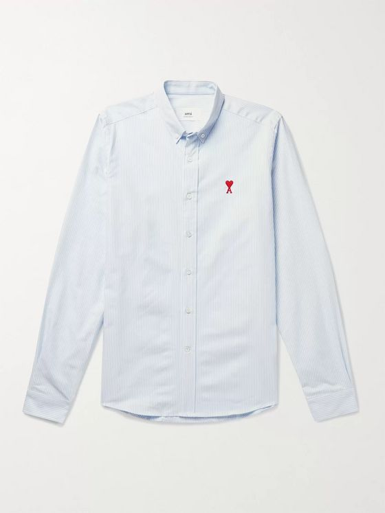 AMI PARIS Button-Down Collar Logo-Appliquéd Striped Cotton Oxford Shirt