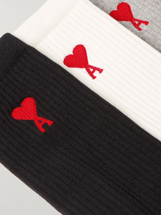 AMI PARIS Three-Pack Logo-Jacquard Cotton-Blend Socks