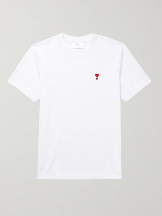 AMI PARIS Logo-Embroidered Cotton-Jersey T-Shirt