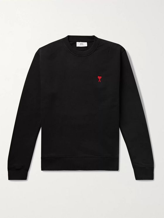AMI PARIS Logo-Embroidered Loopback Cotton-Jersey Sweatshirt