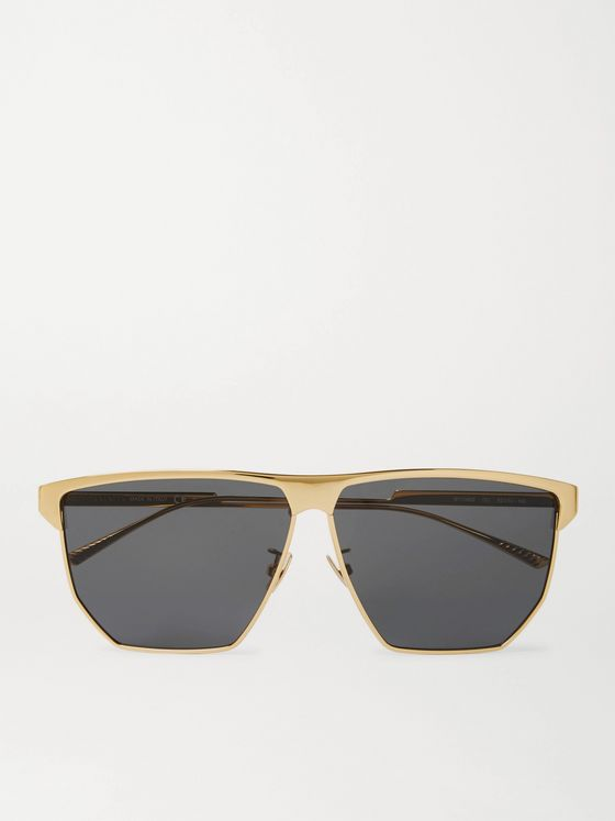 Bottega Veneta Square-Frame Gold-Plated Sunglasses