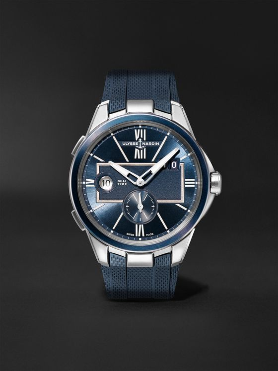 ULYSSE NARDIN Dual Time Automatic 42mm Stainless Steel and Rubber Watch, Ref. No. 243-20-3/43