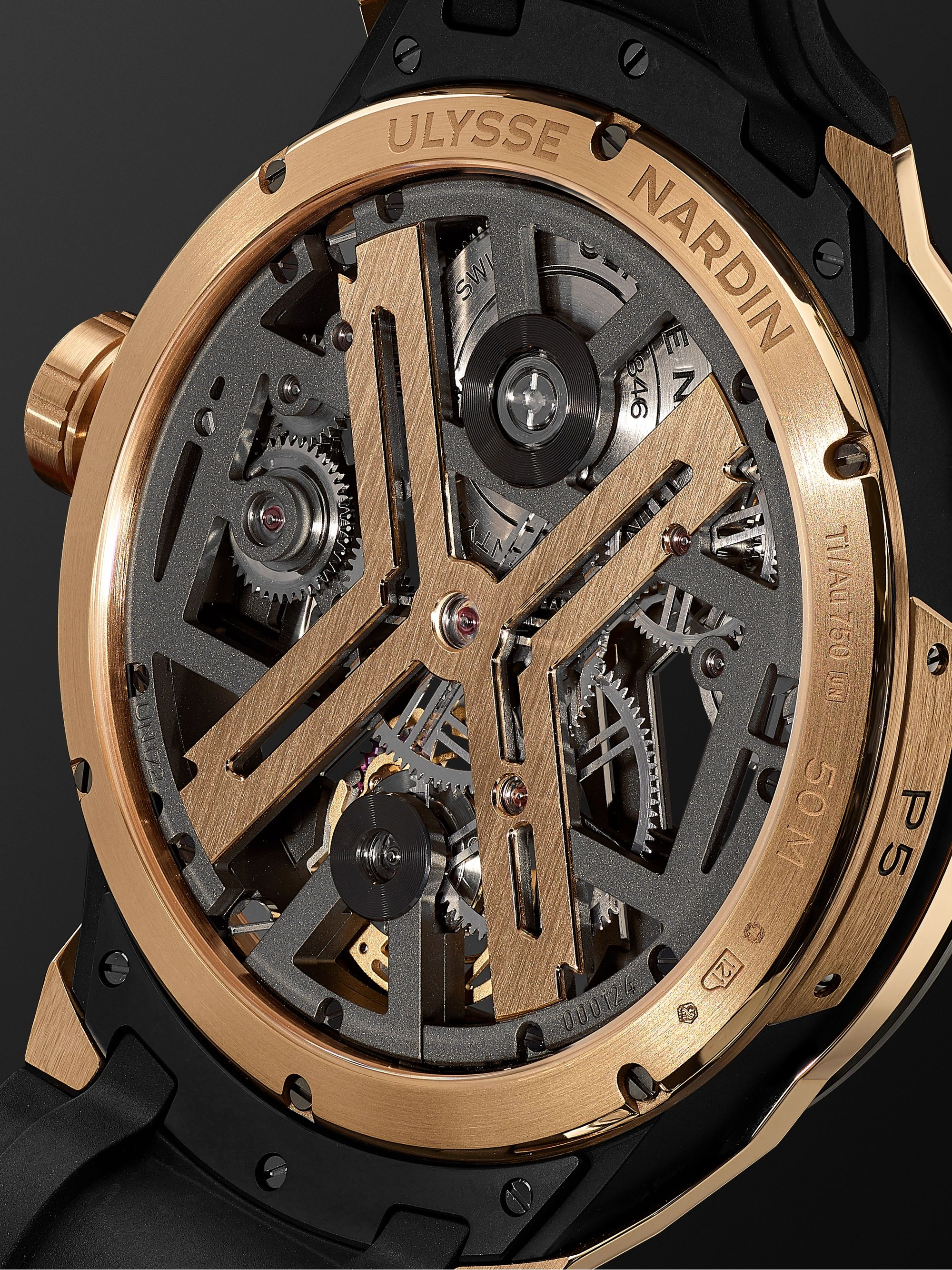 ULYSSE NARDIN Blast Automatic Tourbillon Skeleton 45mm 18-Karat Rose Gold, Titanium and Rubber Watch, Ref. No. 1725-400-3A/02