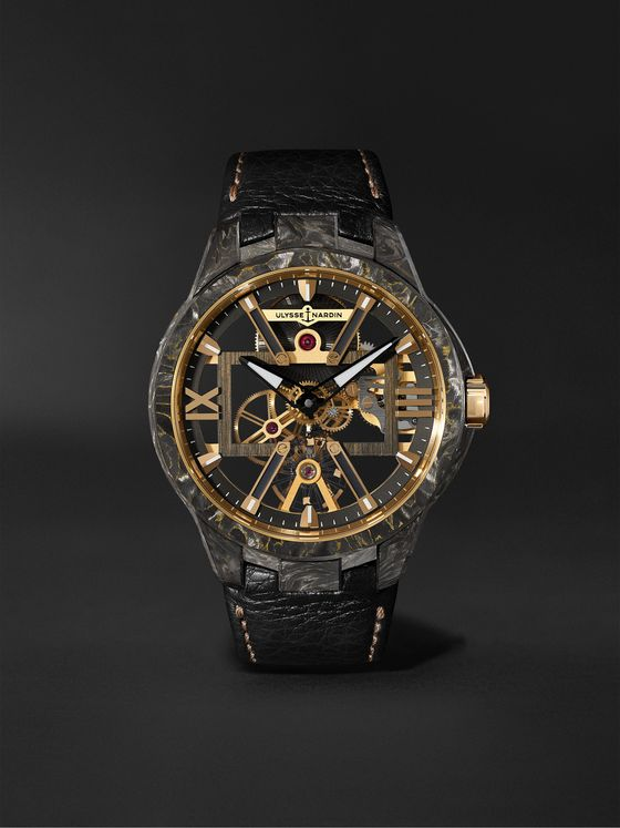 ULYSSE NARDIN Skeleton X Hand-Wound 43mm Carbonium Gold and Full-Grain Leather Watch