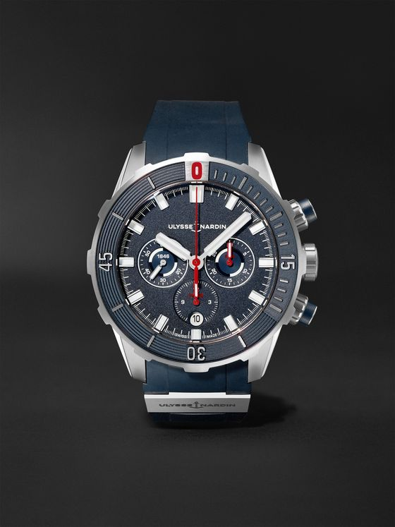 ULYSSE NARDIN Diver Automatic Chronograph 44mm Titanium and Rubber Watch, Ref. No. 1503-170-3/93