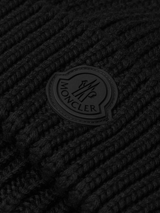 Moncler Logo-Appliquéd Ribbed Virgin Wool Beanie