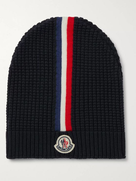 Moncler Logo-Appliquéd Striped Waffle-Knit Virgin Wool Beanie