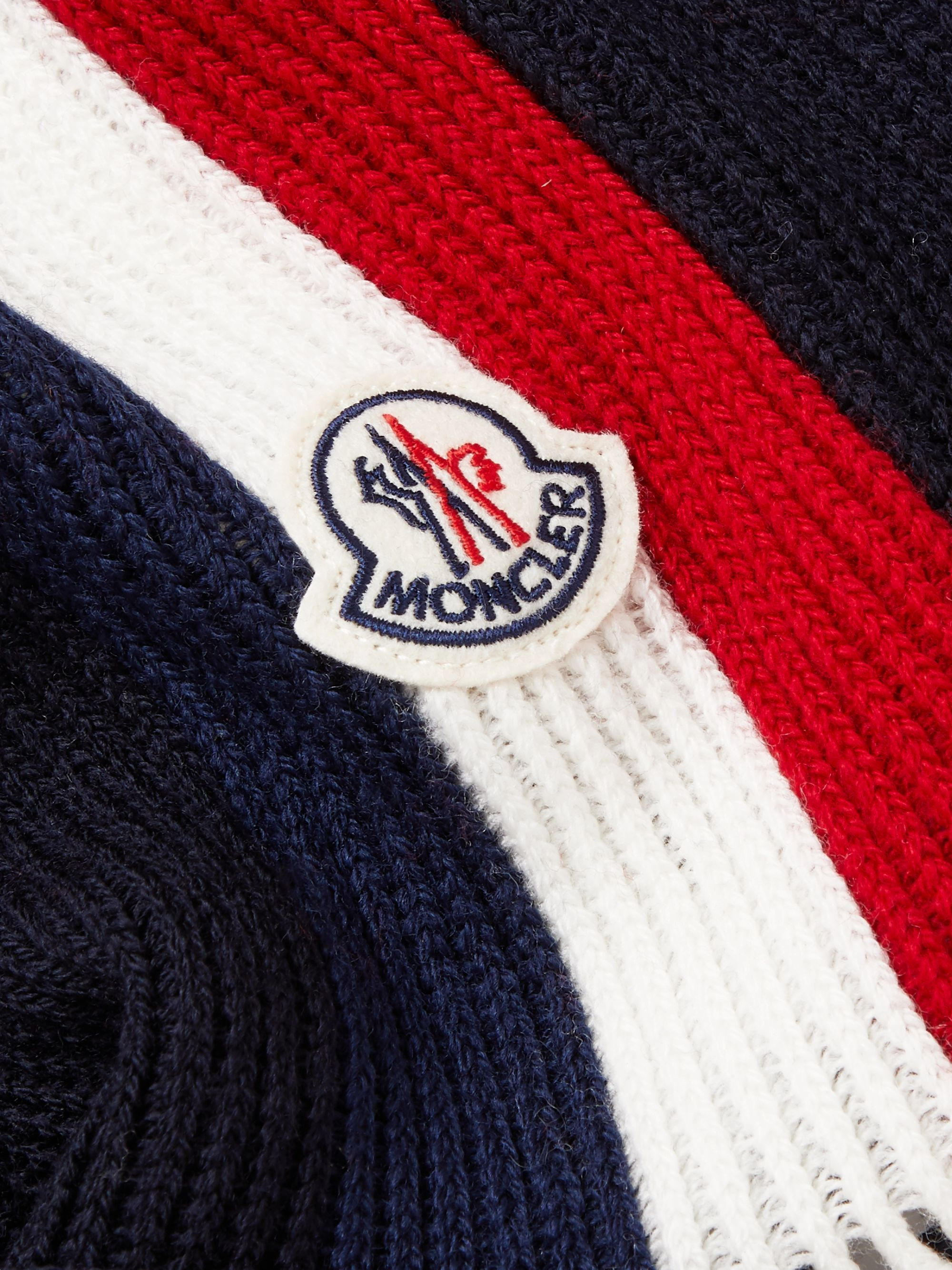 Moncler Fringed Logo-Appliquéd Striped Ribbed Virgin Wool Scarf