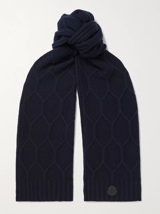 MONCLER Logo-Appliquéd Cable-Knit Wool Scarf