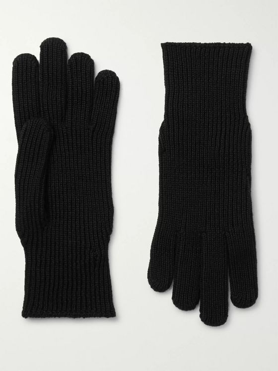 Moncler Logo-Appliquéd Ribbed Wool Gloves