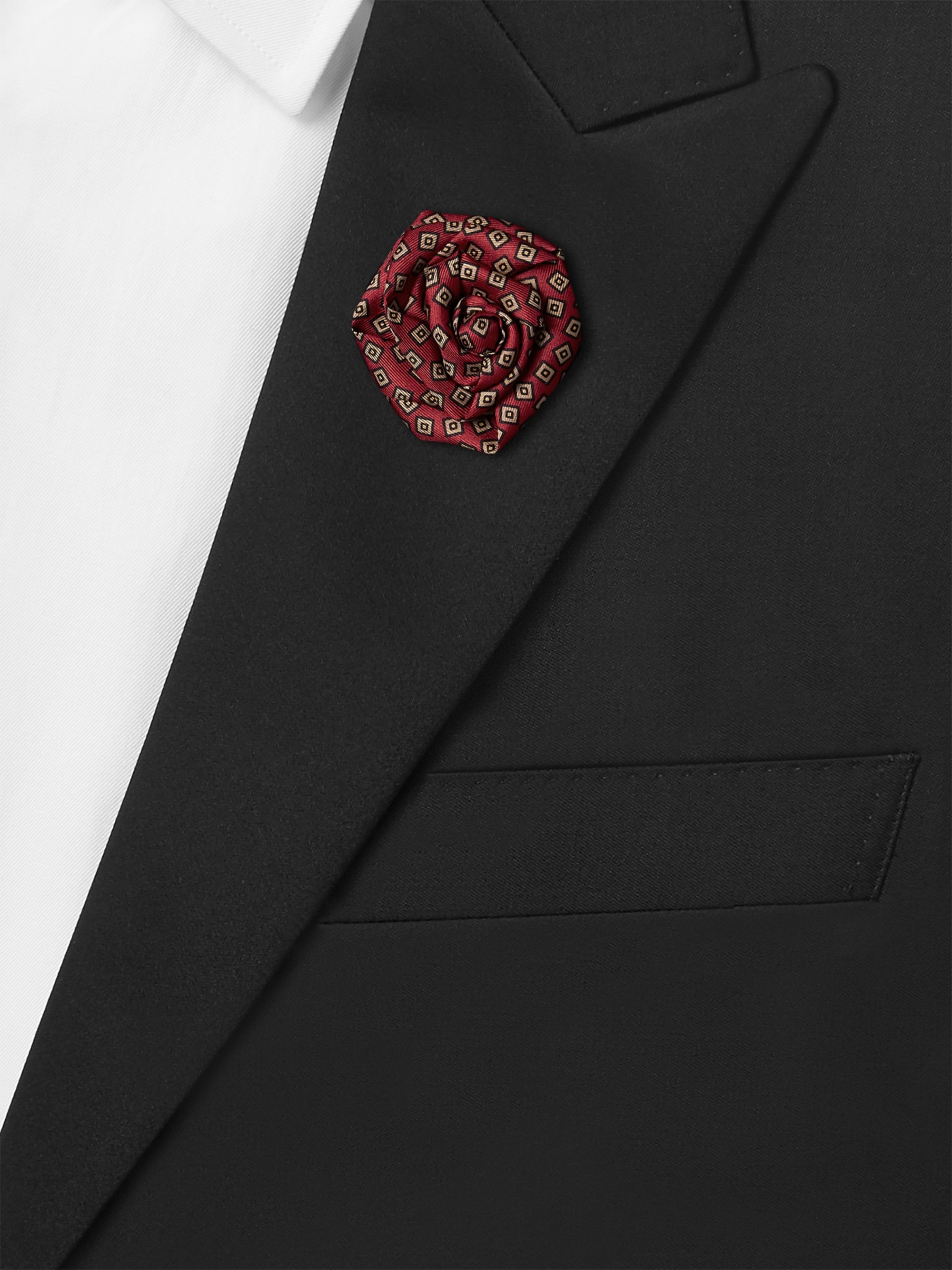 Charvet Printed Silk-Faille Flower Lapel Pin