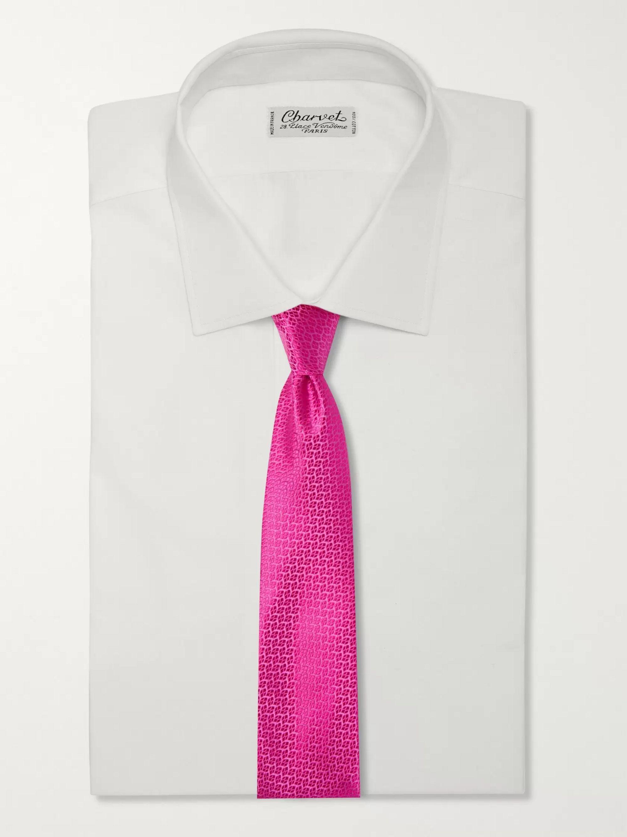 Pink 8.5cm Silk-jacquard Tie | Charvet