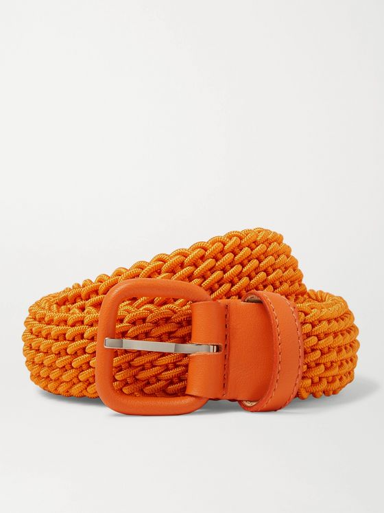 Charvet 3cm Orange Leather-Trimmed Woven Belt