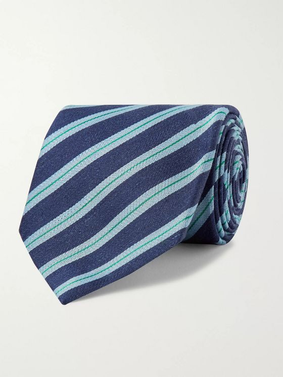 Charvet 7cm Striped Silk and Linen-Blend Tie