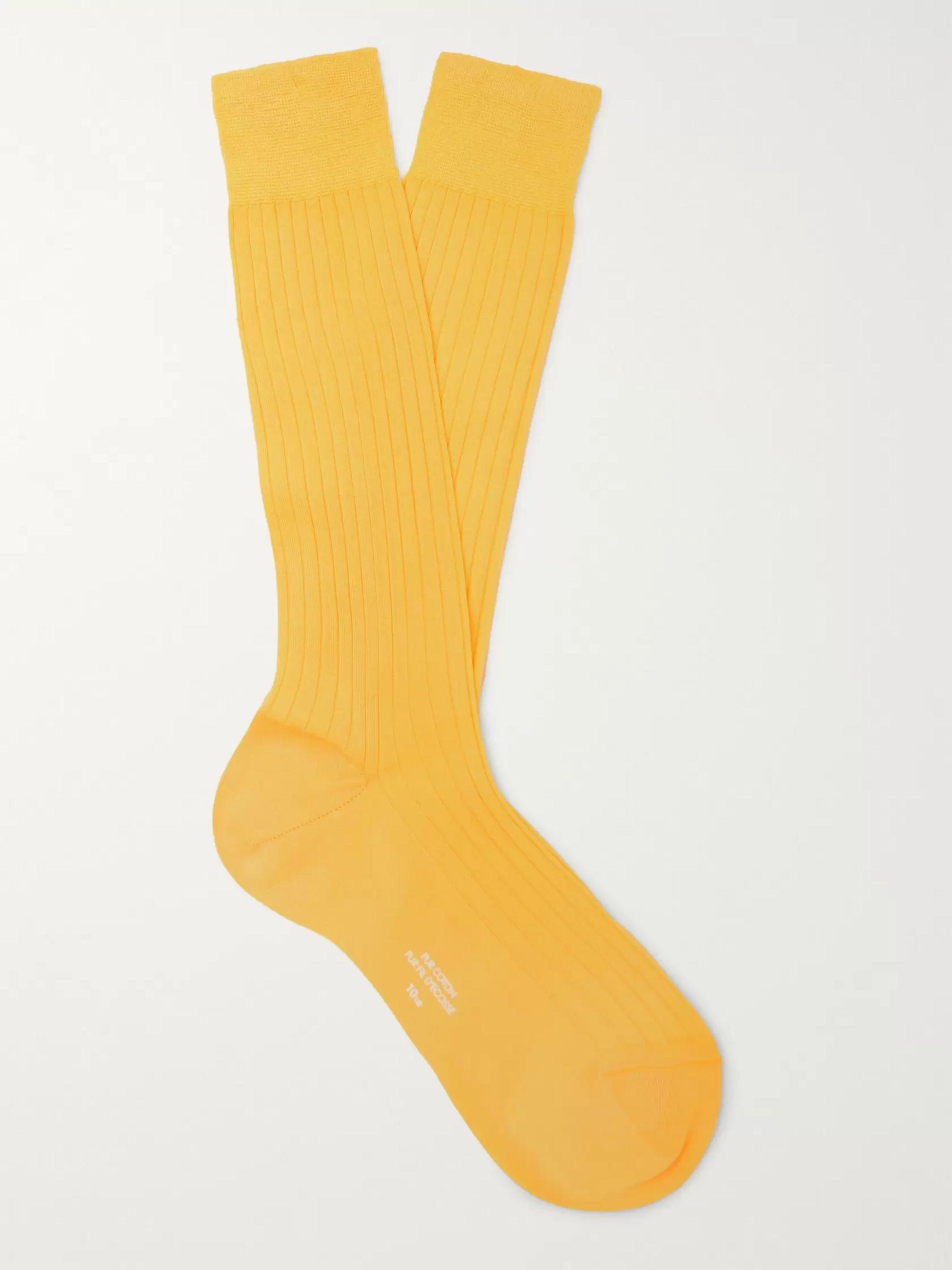 Yellow Ribbed Cotton Socks | Charvet