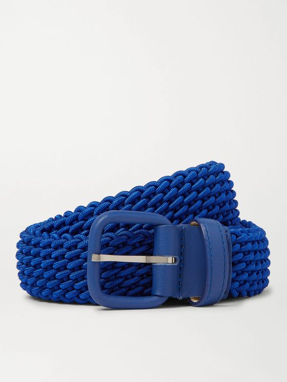 Charvet 3cm Blue Leather-Trimmed Woven Belt