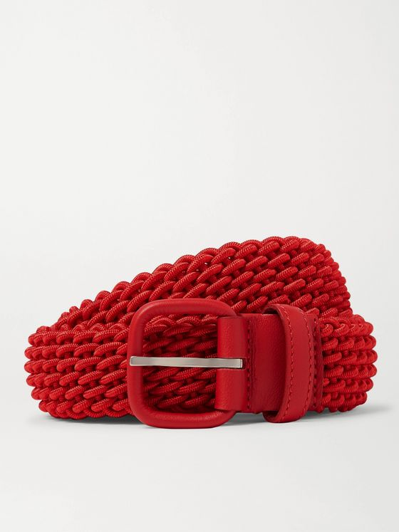 CHARVET 3cm Red Leather-Trimmed Woven Belt