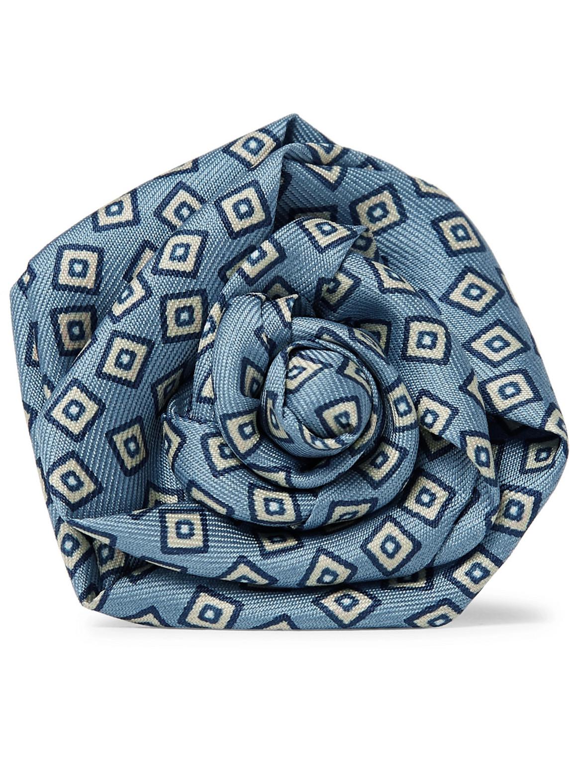 charvet - printed silk-faille flower lapel pin - men - blue