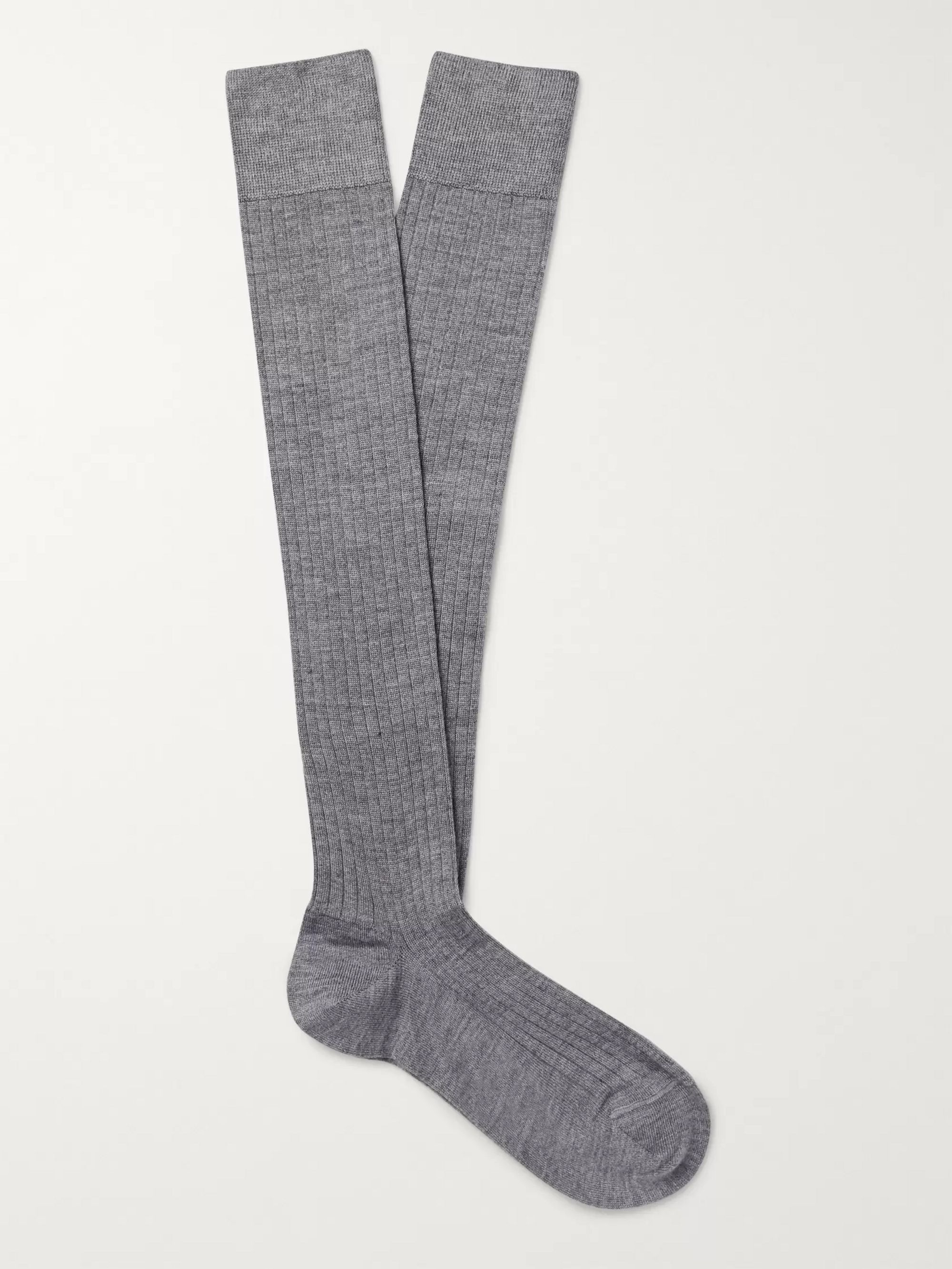 Multi Ribbed Cashmere, Wool And Silk-blend Over-the-calf Socks | Charvet