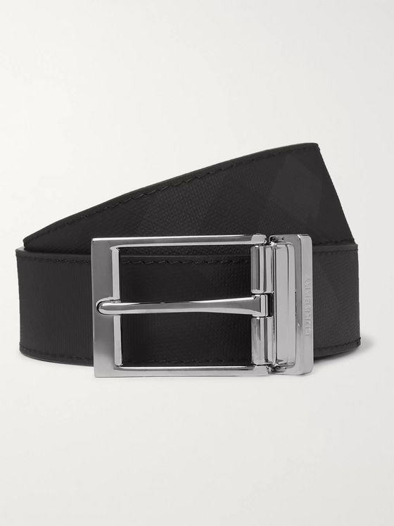 Burberry 4cm Black and Charcoal Reversible Checked Leather Belt