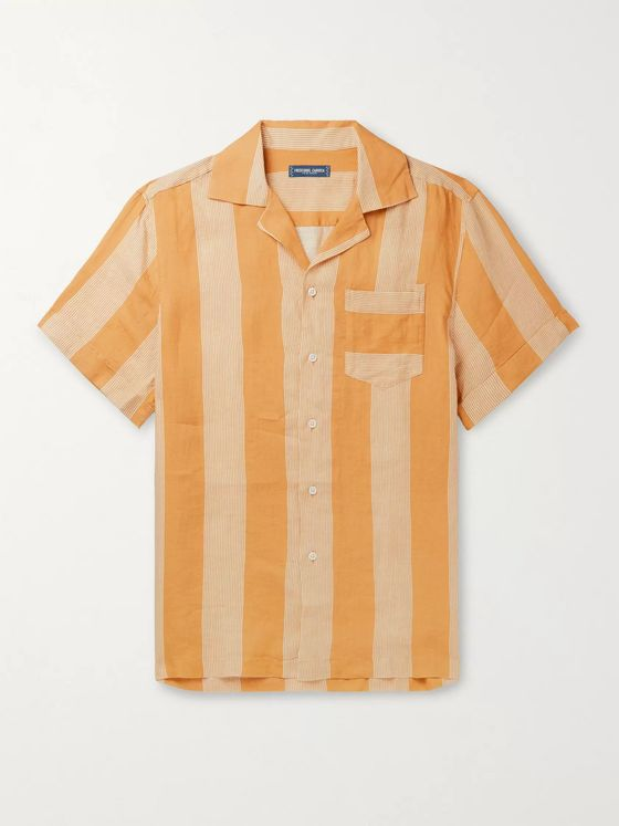 FRESCOBOL CARIOCA Camp-Collar Striped Linen Shirt