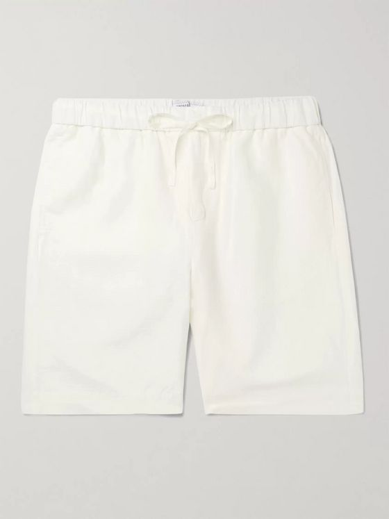FRESCOBOL CARIOCA Wide-Leg Slub Tencel and Linen-Blend Drawstring Shorts